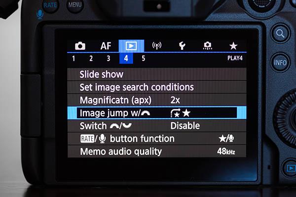 Canon menu image jump